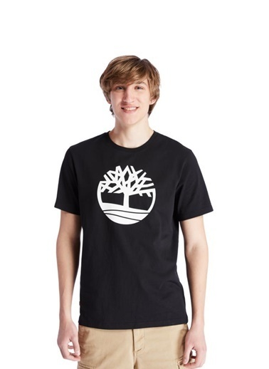 Timberland Timberland SS Kennebec River Tree Logo Tee Erkek Tişört  Siyah Siyah